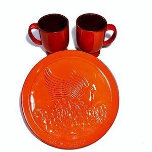 VTG Frankoma Phoenix Plate & Mugs- Collector's Set